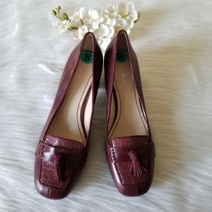 Nine West Burgundy leather Loafers
